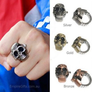 Skull Finger Ring Watch Clamshell Unisex