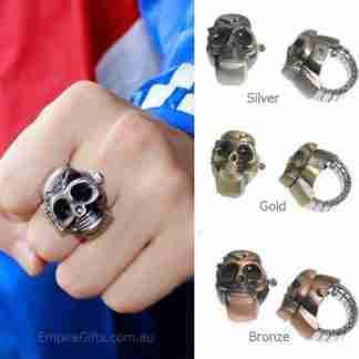 Skull Finger Ring Watch Clamshell Unisex