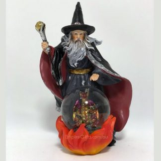 Wizard with Dragon in Orb Waterball Statue Dragon Collectable