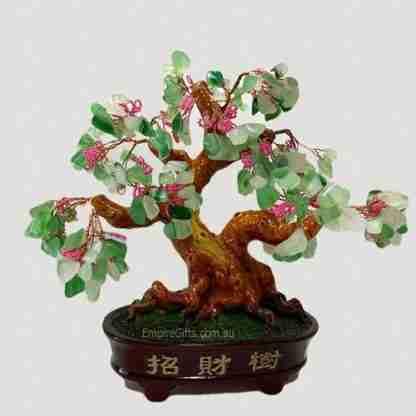 (1) Aventurine Gemstone Tree Natural Green Stone Wealth Money Tree