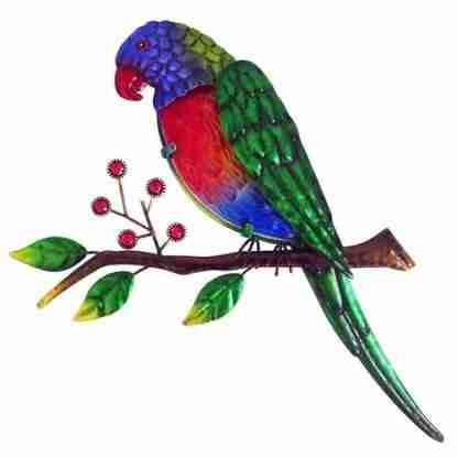 1pc Australian Rainbow Lorikeet Bird Wall Art Metal Garden Décor
