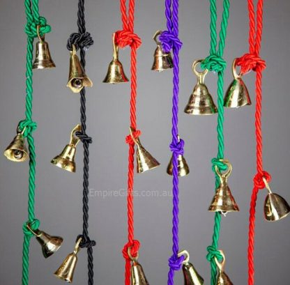 1pc Brass Bells on a Rope Gold Hanging Bells Home Decor