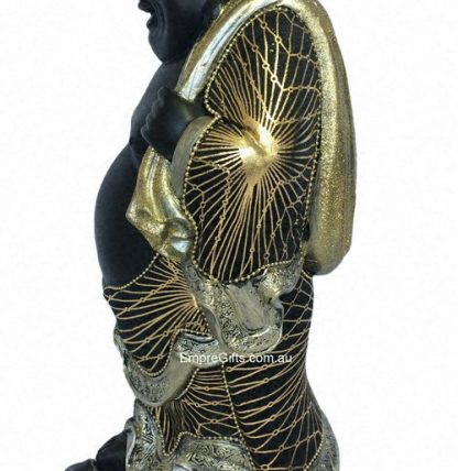 Buddha Standing with Money Bag on Turtle Statue Black & Gold