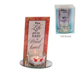Inspirational Glass Angel Candle Holder with Quote LIFE