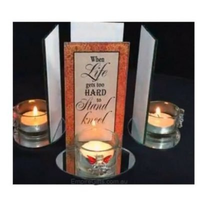 1pc Inspirational Glass Angel Candle Holder with Quote - When Life...