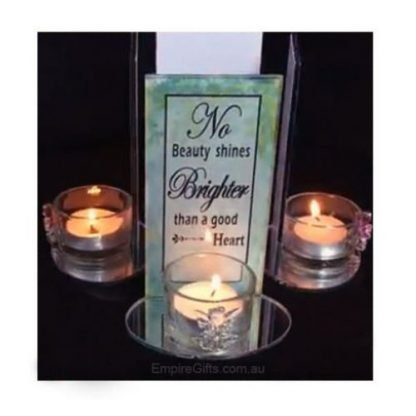 Beauty - Inspirational Glass Angel Candle Holder with Quote