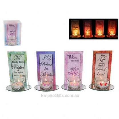 1pc Inspirational Glass Angel Candle Holder with Quote