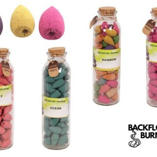 4 x Backflow Incense Cones Rose ~ Rainbow ~ Lily ~ Ocean Gift Set
