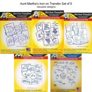 5x Aunt Martha's Iron on Transfer Embroidery Designs