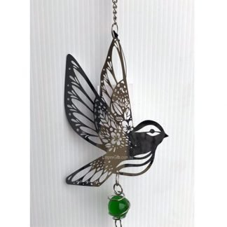 Bird Dove Silver Wind Chime Metal Garden Hanging Mobile