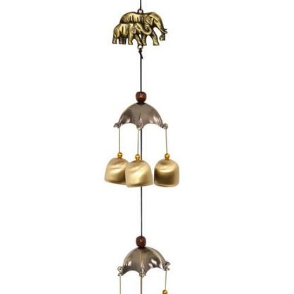 Family Elephants with Brass Bells under Umbrellas Wind Chime