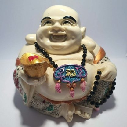 Laughing Buddha Holding Gold Ingot & Beads Ivory Finish