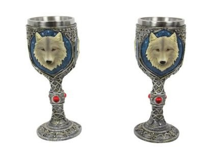 2pc white wolf goblets