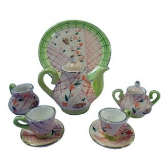 10pc Miniature Tea Set Green Check Teapot Collectable