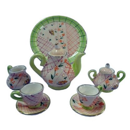 10pc Miniature Tea Set Green Check Teapot Collectable