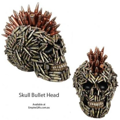 1pc Skull Ammo Bullet Head Mohawk Decoration Figurine Skeleton