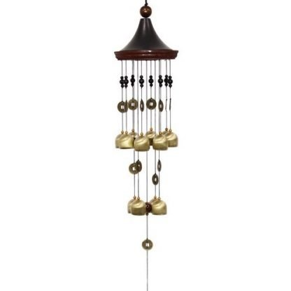93cm Chinese Pavilion Twelve Brass Bells & Wealth Coins Wind Chime