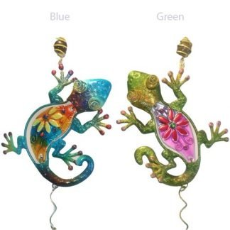 Lizard Gecko Metal n Glass Wind Chime Hanging Mobile