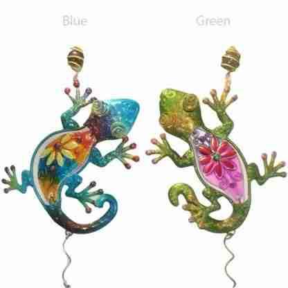 Lizard Gecko Metal n Glass Wind Chime Hanging Mobile