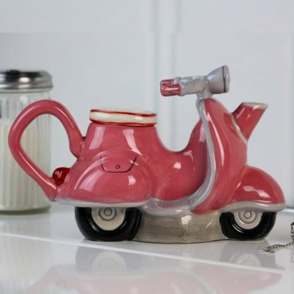 Pink Scooter Teapot Ceramic Collectable