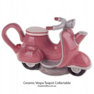 Tea Pot Pink Vespa-Style Motorcycle Scooter Ceramic Collectable