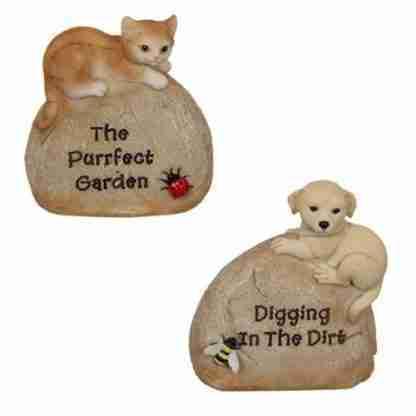 Pet Rock Kitten / Puppy Garden Statue