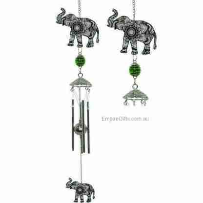 Silver Mandala Elephant Wind Chime Feng Shui Enhancer