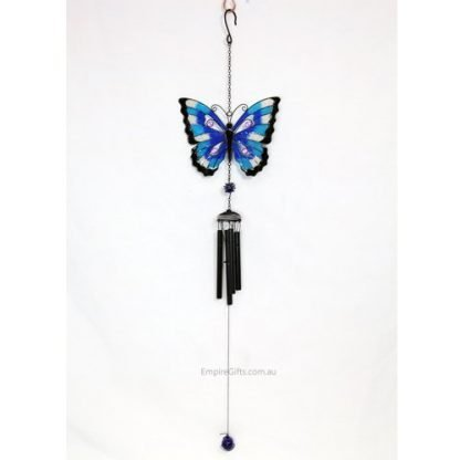 Blue Butterfly Glass Mosaic Wings Metal Garden Hanging Mobile