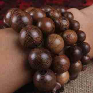 Buddhist Mala Wood Prayer Beads Bracelet