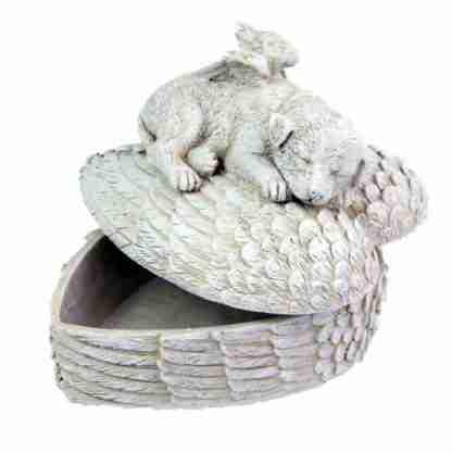 Dog Memorial Heart Shaped Memorial Urn Box Garden Statue