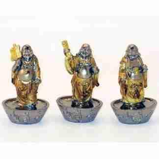 Gold Buddha Statue on Silver Ingot Stand