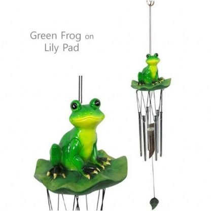 1 x Green Frog On Lily Pad Frog Wing Chime Garden Hanging Mobile