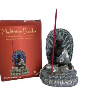 Mediation Buddha Statue Incense Holder Silver Blue Light Up