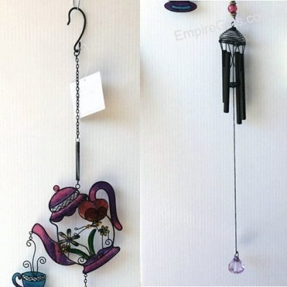 Whimsical Teapot Pouring Tea cup Butterfly Wind Chime Hanging