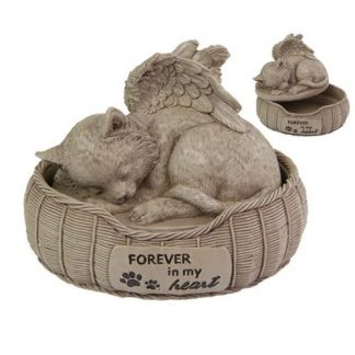 (1) Cat Bed Urn Memorial Plaque Pet Cat Garden Statue