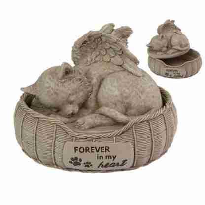 (1) Cat Bed Urn Memorial Plaque Pet Cat Garden Statue