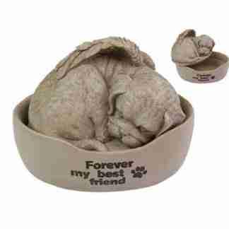 (1) Dog Bed Urn Memorial Plaque Pet Dog Garden Statue