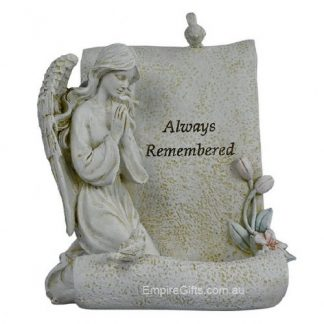 "Angel Kneeling Memorial Angel Tealight Holder ""Always remembered"""