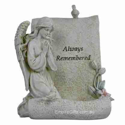 """Angel Kneeling Memorial Angel Tealight Holder """"Always remembered"""""""