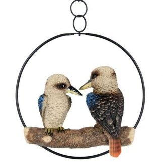 twin Kookaburra Statue in Ring Hanging Garden Mobile