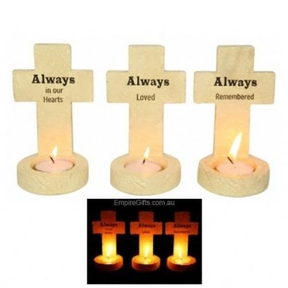 Memorial Standing Cross tealight Candle Holder
