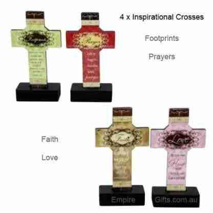 4 x Standing Religious Cross Inspirational Message
