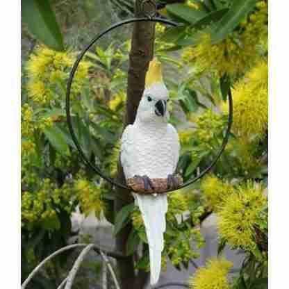 Australian Cockatoo Bird Parrot in Ring Hanging Garden Mobile