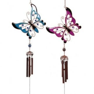 Butterfly wind chime pink blue set