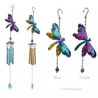 Dragonfly Wind Chime Metal + Glass Garden Hanging Mobile