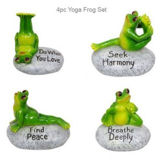 4 x Frog Yoga Posing Figurine Collection Green Frog on Rock SET of 4