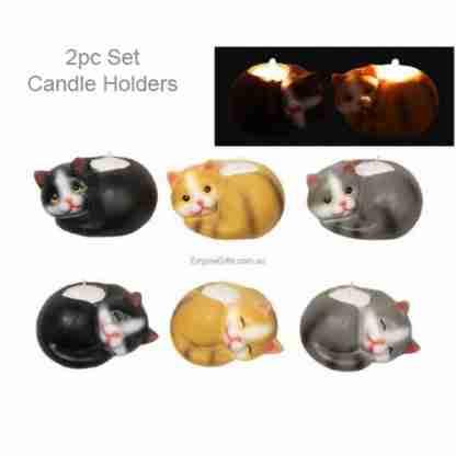 2pc Cat Kitten Tealight Candle Holder Set of 2