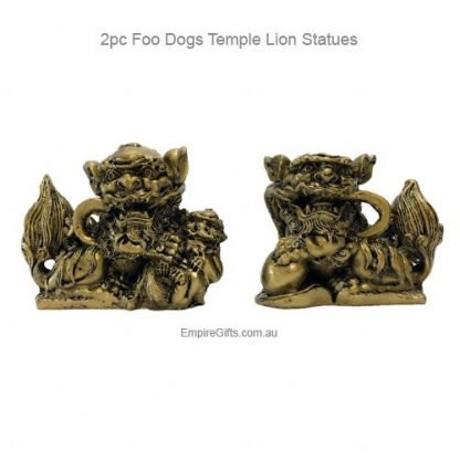 2pc Foo Dog Temple Lions Statue Feng Shui Protection SET