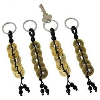 5 Gold Wealth Money Coins Key Ring