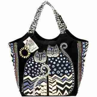 Designer Handbag Laurel Burch Cat Polka Dot Large